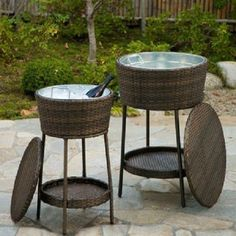 Wicker Water Cooler Outdoor Cooking Pool Bar Ice Bucket Deck Beverage Tub  Wine