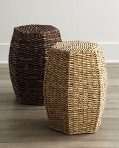 Woven Garden Seats at Horchow. For loft? Garden Seats, Garden Stools, Clothes Basket, Eco Friendly House, Basket Weaving, Woven Baskets, Wicker Baskets, Home Accents, A Table