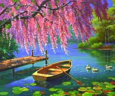 """Pink Blossoms, A Lake, And A Boat For Two. . .The Perfect Setting To Say """"I Love You."""""""