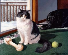 Paintings with dogs and cats. Persis Clayton Weirs