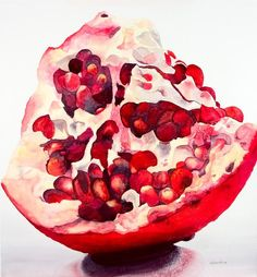Pomegranate painting - lynda bee white - watercolor dibujos a tinta, técnic Watercolor Fruit, Watercolour Painting, Painting & Drawing, Watercolors, Pomegranate Art, Pomegranate Drawing, Fruit Painting, Fruit Art, Natural Forms