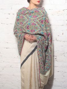 Old Pashmina Shawl With All-Over Embroidery