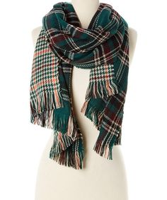 Another great find on #zulily! Teal & Burgundy Houndstooth & Plaid Reversible Scarf #zulilyfinds