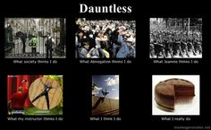 The many faces of the Dauntless. Obviously Tobias made this, he really likes his cake.