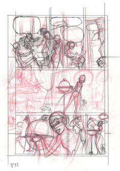 Boceto Story-board 05: lapiceros rojo y de grafito sobre papel folio 100gr. 50€ David Belmonte ©