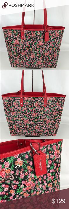 """Coach Reversible Posy Floral Logo City Tote Authentic. New with Tags.  Pink posey cluster floral with reversible bright red interior and 9x6 zip closure pouch. PVC coated canvas. 17.5""""L x 12""""H x 6""""W.  6"""" Strap drop. Style F57669. RB682  Thank you for your interest!   PLEASE - NO TRADES / NO LOW BALL OFFERS / NO OFFERS IN COMMENTS - USE THE OFFER LINK :-) Coach Bags Totes"""