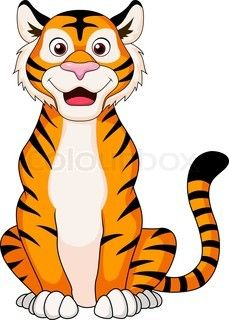 cute tiger cartoon sitting - Simple Cartoon Pics