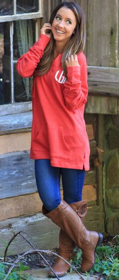 Monogrammed Sweatshirt Tunic - can you say ADORABLE outfit idea? We love the pockets on the front and hood on the back! Perfect for lounging, running errands and being super cozy!