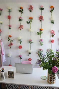 DIY Flower Wall with Hobbycraft — Charlotte Jacklin Fake Flowers Decor, Flower Room Decor, Cute Room Decor, Diy Flowers, Flower Decorations, Floral Bedroom Decor, Wall Of Flowers, Room Decorations, Flower Ideas