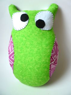 Stuffed Owl Pillow  Neon Green w/ Pink by WanderingBlueWhimsy, $32.00