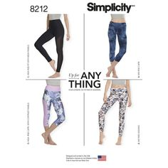"""Knit legging pattern sized XXS-XXL is a wardrobe essential, perfect for active wear fabrics, or fashion knits. Pattern includes pants with 4"""" waistband in ankle or cropped length with contrast side panel, or can be made with 2"""" waistband in ankle or cropped length. Simplicity sewing pattern."""