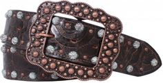 Brown Floral Leather Belt by Double J Saddlery