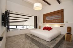 Villa of the Rising Sun / Residence Design with Traditional Elements in Tropical Design : Master Bedroom Interior Decor Among Frameless Platform Bedding Idea Covered By White Bedspread To Match Wall Furniture Decor, Bedroom Furniture, Bedroom Decor, Bedroom Lighting, Modern Furniture, Bedroom Ideas, Contemporary Bedroom, Modern Bedroom, Interior Design Inspiration
