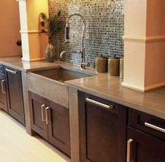 Love the concrete tops! Never really liked granite.Cement Kitchen Countertops…