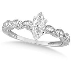 Allurez Marquise Antique Diamond Engagement Ring in 14k White Gold... ($1,230) ❤ liked on Polyvore featuring jewelry, rings, accessories, engagement rings, joias, white gold diamond ring, diamond jewelry, antique jewelry, antique engagement rings and antique rings