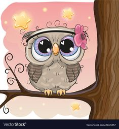 Cute Owl with flower on a brunch. Cute Cartoon Owl with flower on a brunch stock illustration Cartoon Owl Drawing, Owl Cartoon, Cute Cartoon Animals, Owl Clip Art, Owl Art, Cute Animal Drawings, Cute Drawings, Cartoon Mignon, Heart In Nature