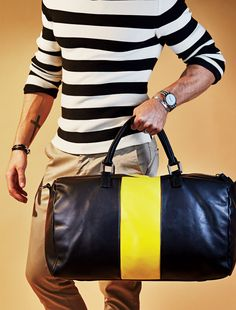 Keep your style exciting with bold accessories The Boldest Duffel Bags and Totes to Carry Everywhere This Summer Photos Mature Mens Fashion, Top Les, Bold Stripes, Summer Photos, John Hardy, Fashion Essentials, Travel Bags, Gq, Carry On
