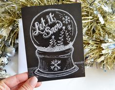 Let It Snow Globe Card Winter Card Christmas by LilyandVal