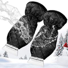 MATCC 2 Pack Ice Scraper Mitt Windshield Snow Scrapers with Waterproof Snow Remover Glove Lined of Thick Fleece Black *** Continue to the product at the image link. (This is an affiliate link)