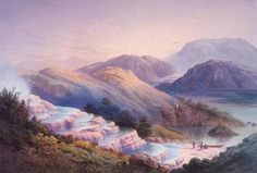 Pink & White Terraces, natural thermal bathing pools that descended from geysers in stunning silica formations to nearby Lake Rotomahana. Vanished in the aftermath of the massive June 10, 1886 eruption of Mount Tarawera. Terraces are mostly intact but are beneath 200 feet of water.