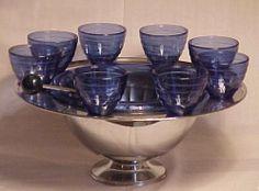 Punch set ~ Depression glass ~ Cobalt blue