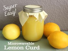 You're just minutes away from fresh Meyer lemon curd with this quick and easy microwave recipe! Great with your favorite scones and muffins! Last weekend my in-laws came for a visit, and they brought Lemon Curd Recipe, Lemon Recipes, My Recipes, Favorite Recipes, Fruit Recipes, Dessert Recipes, Mason Jar Meals, Meals In A Jar, Yummy Treats
