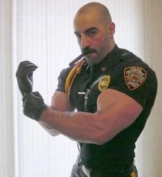 He's got the muscles, he's got the uniform, he's got the leather gloves. Morphed in Photoshop Tough Leather Mens Leather Pants, Cigar Men, Hunks Men, Hot Hunks, Hot Cops, Scruffy Men, Muscle Hunks, Man Smoking, Men In Uniform