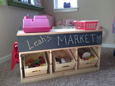 Kid's Market for Playroom -Made from Trofast Ikea Wood Frame, Knagglig Boxes