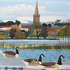 'Canada Geese' By Textile Artist Rachel Sumner.  Blank Art Cards By Green Pebble. www.greenpebble.co.uk