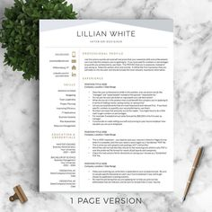 Page Resume Template With A Matching Cover Letter And