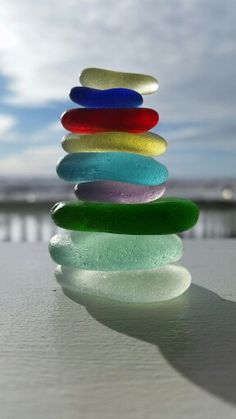 Beach glass tower of colors enjoying the sun in Nome,Alaska