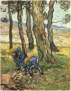Two Diggers among Trees  Painting, Oil on Canvas  Saint-Rémy: November - December, 1889  The Detroit Institute of Arts  Detroit, Michigan