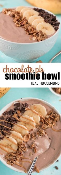 Start your day with a Chocolate PB Smoothie Bowl that is high in protein and super delicious! via @realhousemoms