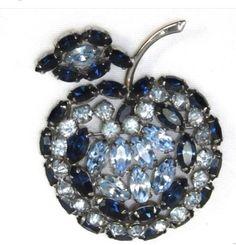 Sherman Apple brooch . Using sapphire , light sapphire Swarovski crystals !
