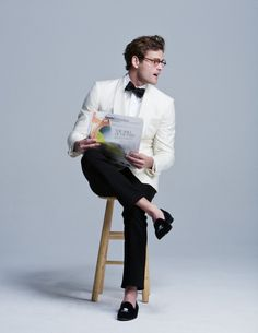 Tuxedo Jacket, Shirt, and Bow-Tie by Phineas Cole, Jeans by J. Brand, Shoes by Del Toro, Glasses by D.W. Dixey & Sons
