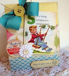 Vintage style little boy swing HERE TO GIVE YOU A LIFT handmade card