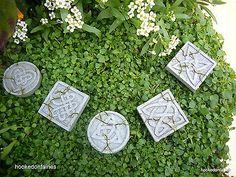 Miniature Fairy Garden, Celtic Stepping Stones set of 5