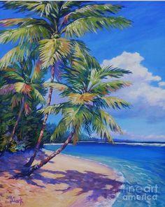 Grand Cayman Wall Art - Painting - Caribbean Paradise by John Clark Landscape Art, Landscape Paintings, Landscapes, Paradise Painting, Fine Art Amerika, Palm Tree Art, Palm Trees, John Clark, Beach Pink