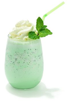 I'll opt for the soy version Celebrate St. Patty's Day with mint chocolate chip ice cream, milk and fresh peppermint flavored whipped cream.