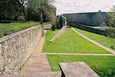 Pt. II: the view from the park side of restoration of walled estate of 13th c. convent, contemporary museum to right [Park Bonaval, Santiago de Compostela; Alvaro Siza (park and museum)]