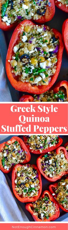 Greek Style Quinoa Stuffed Peppers - A delicious and healthy vegetarian meal. Find the recipe on NotEnoughCinnamon.com