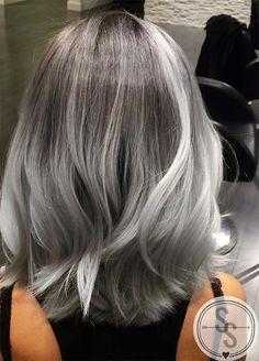 Granny Silver/ Grey Hair Color Ideas: Balayage Grey Medium-Length Hair (Hair Color Tips) Grey Balayage, Balayage Bob, Medium Hair Styles, Short Hair Styles, Silver Grey Hair, Silver Hombre Hair, Grey Hair Bob, Grey Ombre Hair Short, Brown Hair