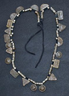 Africa | Ethiopian telsum necklace; coin silver and leather | ©Preethi, via Ethnic Jewels