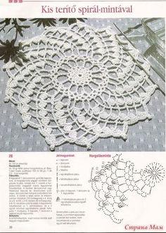 Napperon au crochet en spiral Plus Filet Crochet, Crochet Doily Patterns, Crochet Mandala, Crochet Chart, Thread Crochet, Crochet Designs, Crochet Flowers, Crochet Dollies, Crochet Lace