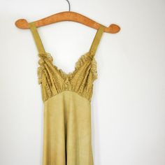 vintage 60s Upcycled Hand Dyed Bartlett Pear Green Nightgown, $42.00