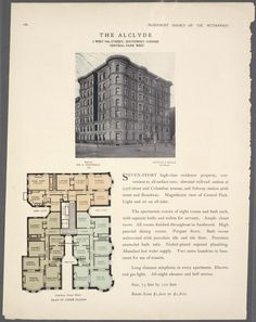 The Alclyde, 2 West Street, southwest corner Centrall Park West; Plan of upper floors. Bath Tube, New York Public Library, House Floor Plans, Central Park, Houses, Flooring, How To Plan, Architecture, Street
