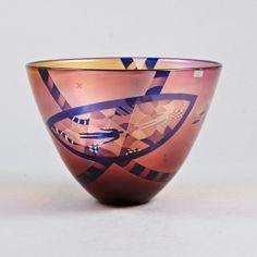 @@ Bertil Vallien (Swedish, 1938), Glass Bowl with Sand Blasted Decoration.
