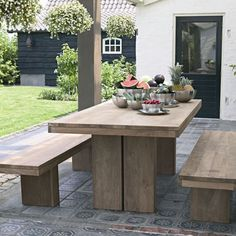 tile patio with rustic dining table