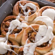 Gooey Cinnamon Buns with Thick Cream Cheese Icing By Nancy Fuller