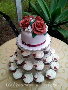 Red roses cupcake tower
